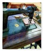 Sewing Machine With Sissors Fleece Blanket