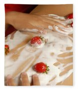 Sexy Nude Woman Body Covered With Cream And Strawberries Fleece Blanket