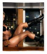 Sexy Woman In Lingerie Sitting On A Window Sill Fleece Blanket