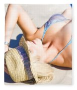 Sexy Woman On Sand Fleece Blanket