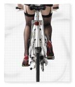 Sexy Woman Riding A Bike Fleece Blanket