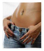 Sexy Woman With Pierced Belly In Blue Jeans Fleece Blanket