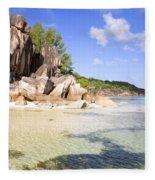 Seychelles Rocks Fleece Blanket
