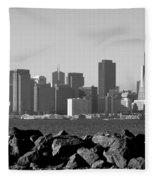 Sf Skyline  Bw Fleece Blanket