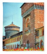 Sforza Castle Milan Italy Fleece Blanket