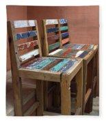 Shabby Chic Chairs Fleece Blanket