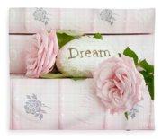 Shabby Chic Cottage Pink Roses On Pink Books - Romantic Inspirational Dream Roses  Fleece Blanket