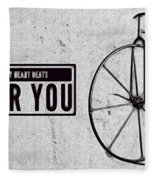 Shabby Chic, Old Bicycle No 01 Fleece Blanket