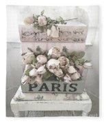 Paris Shabby Chic Pastel Paris Books Roses - Paris Shabby Cottage Watercolor Roses Fleece Blanket