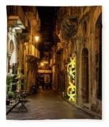 Shabby Chic - Small Street Night Walk In Syracuse Sicily Fleece Blanket