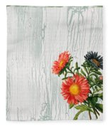 Shabby Chic Wildflowers On Wood Fleece Blanket