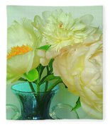 Beautiful Peony Flowers  In Blue Vase. Fleece Blanket