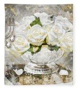Shabby White Roses With Gold Glitter Fleece Blanket