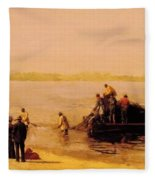 Shad Fishing At Gloucester On The Delaware River 1881 Fleece Blanket