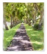 Shaded Walkway To Princeville Market Fleece Blanket