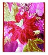 Shades Of Pink Flowers Fleece Blanket