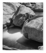 Shadows Of A Creek In Black And White Fleece Blanket