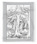 Shady Forest Of Trees Fleece Blanket