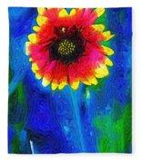 Shaggy Moon For A Shaggy Flower Fleece Blanket