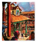Shakespeare Performing At The Globe Theater Fleece Blanket