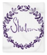 Shalom Wreath- Art By Linda Woods Fleece Blanket
