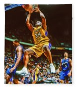 Shaquille O'neal Los Angeles Lakers Oil Art Fleece Blanket