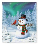 Sharing The Wonder - Christmas Snowman And Birds Fleece Blanket