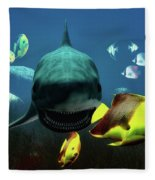 Shark And Fishes Fleece Blanket