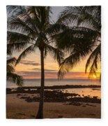 Sharks Cove Sunset 3 - Oahu Hawaii Fleece Blanket