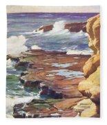 Sharp Rocky Coastline Fleece Blanket