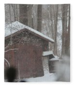 Shed Thru Glass And Snow Fleece Blanket