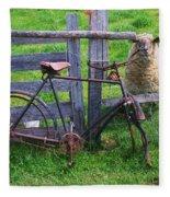 Sheep And Bicycle Fleece Blanket