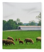 Sheep And Covered Bridge Fleece Blanket