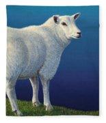 Sheep At The Edge Fleece Blanket