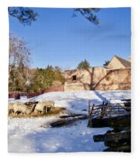 Sheep Farm In Winter Fleece Blanket