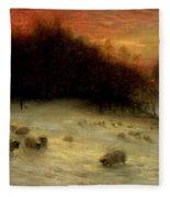 Sheep In A Winter Landscape Evening Fleece Blanket