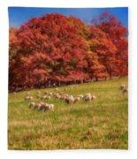 Sheep In The Autumn Meadow Fleece Blanket