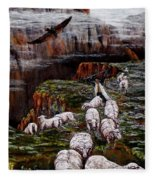 Sheep In The Mountains  Fleece Blanket