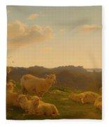 Sheep On A Hill Near Skarridso Fleece Blanket