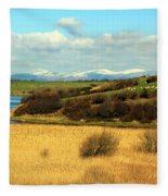 Sheep On The Hillside Fleece Blanket