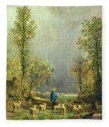 Sheep Watching A Storm Fleece Blanket