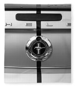 Shelby Ford Mustang Trunk Lid And Badge In Black And White Fleece Blanket