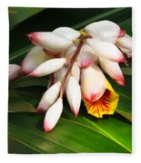 Shell Ginger Flowers Fleece Blanket