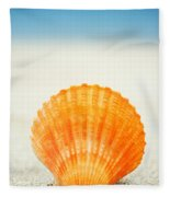 Shell On Beach Fleece Blanket
