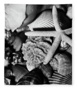Shells And Starfish In Black And White Fleece Blanket