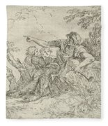 Shepherd Holding A Flute And Two Other Figures In A Landscape Fleece Blanket