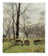 Shepherd With His Flock In The Evening Light Fleece Blanket