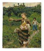 Shepherdess Carrying A Bunch Of Grapes Fleece Blanket
