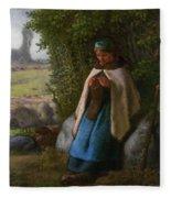Shepherdess Seated On A Rock Fleece Blanket