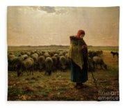 Shepherdess With Her Flock Fleece Blanket
